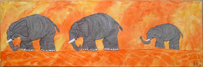 Elefantenfamilieauf Leinwand30x90cm2011