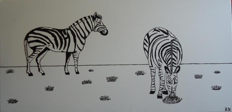 Zebras Wachs auf Leinwand 40x80cm 2012