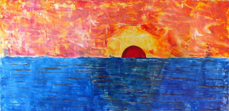 Sonnenaufgang Wachs auf Leinwand 40x80cm 2016