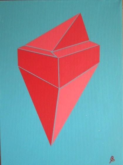 Freischwebende Doppelpyramide Acryl auf Leinwand 30x40cm 2009