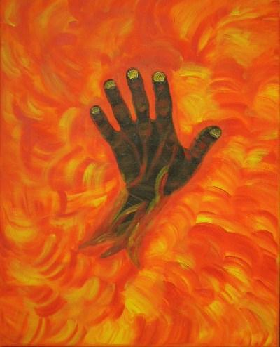 Hand im Feuer Acryl auf Leinwand 40x50cm 2007
