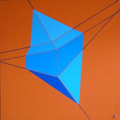 Verdrehte Doppelpyramide Acryl auf Leinwand 60x60cm 2009