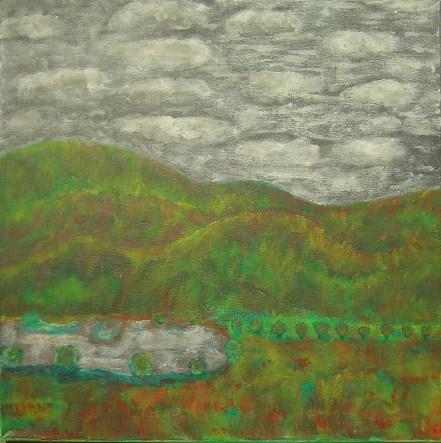 Herbstlandschaft Acryl auf Leinwand,mit Daumen gemalt 50x50cm 2008