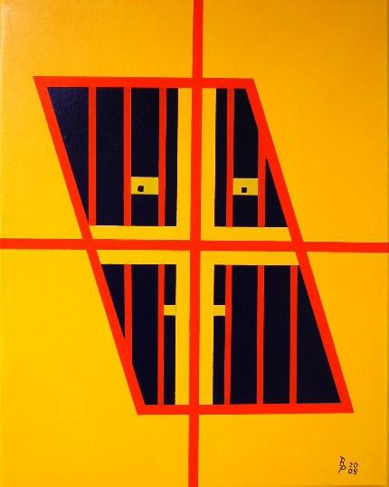 Hinter Gitter Acryl auf Leinwand 40x50cm 2009