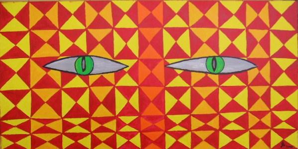 Katzenblick Acryl auf Leinwand 100x50cm 2009