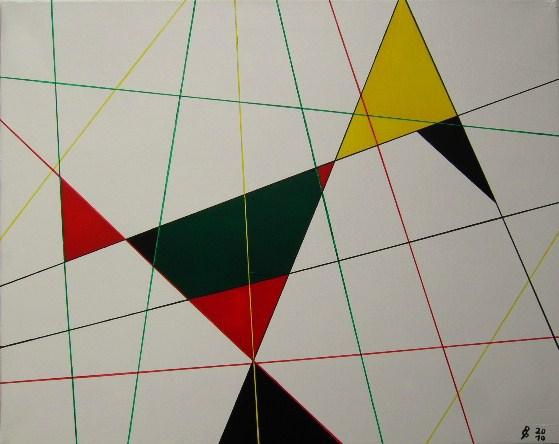 Konstruktion Vogel Acryl auf Leinwand 40x50cm 2010