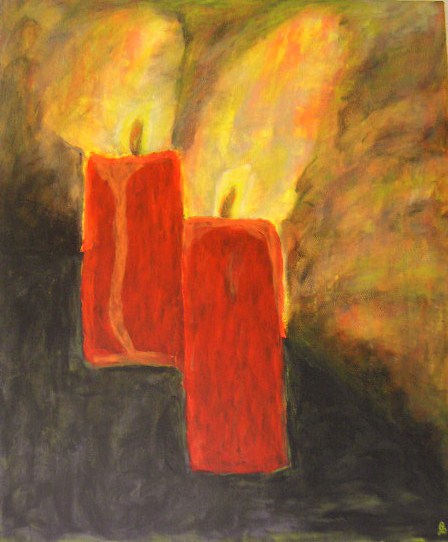 Brennende Kerzen Acryl auf Leinwand mit Daumen gemalt 50x70cm 2008