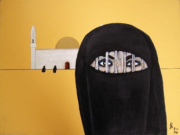 Gefangen in Burka Acryl auf Leinwand 30x40cm 2010
