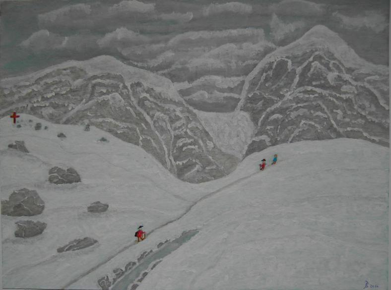 Wintereinbruch Acryl auf Papier 24x32cm 2011