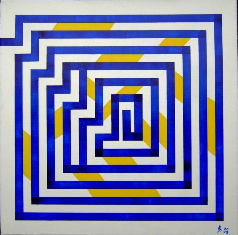 Blaue Linie ins Zentrum Acryl auf Leinwand 60x60cm 2009
