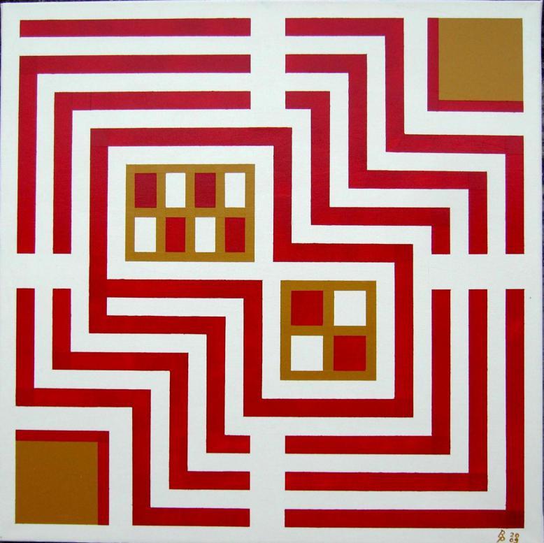 Rote Linie ins Zentrum Acryl auf Leinwand 60x60cm 2009