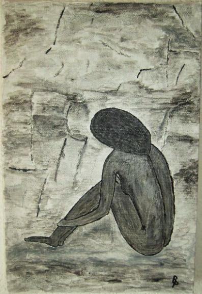 Nachdenkende Frau Aquarell auf Leinwand 20x30cm 2009