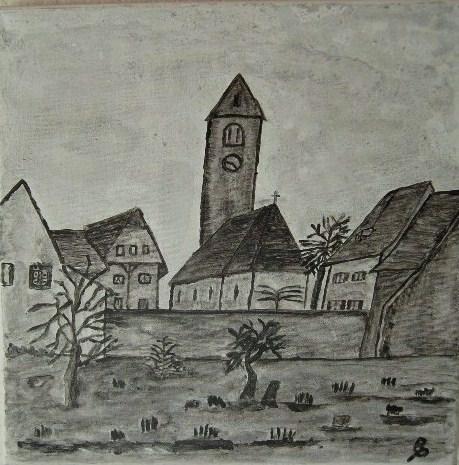 Pfarrhaus Niederbipp Aquarell auf Leinwand 30x30cm 2009