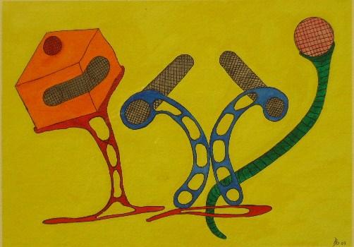 Tanzende Formen Aquarell auf Büttenpapier 25x35cm/30x40cm 2007
