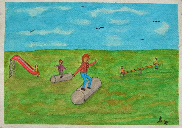 Spielende Kinder Aquarell auf Büttenpapier 25x35cm/30x40cm 2010