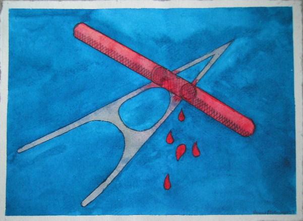 Venenklemme Aquarell auf Büttenpapier 25x35cm/30x40cm 2007