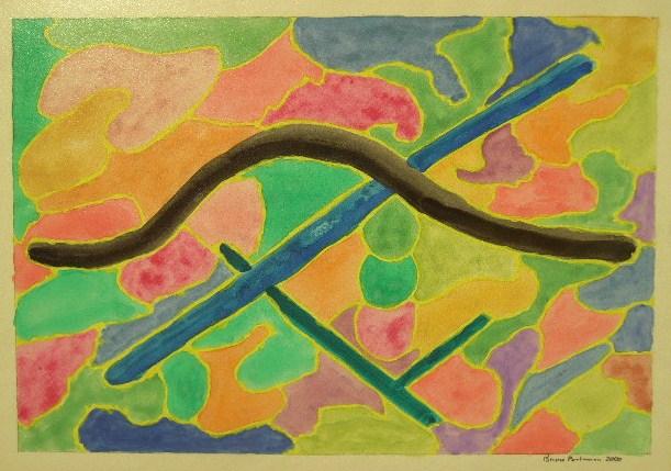 Gebogene Stange Aquarell auf Papier 21x30cm 2000