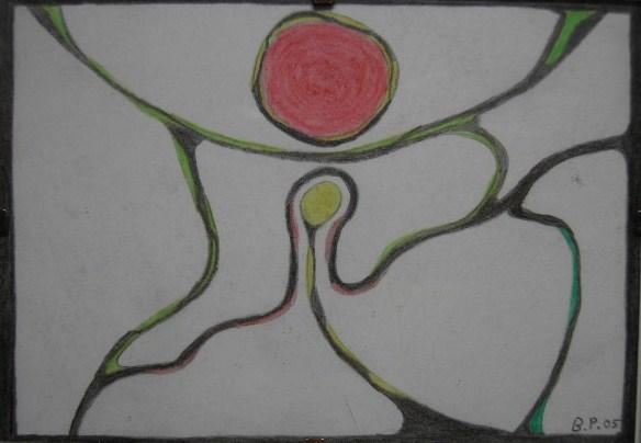 Befruchtung Kleinbild auf Papier,Buntstifte 10,5x15cm 2005