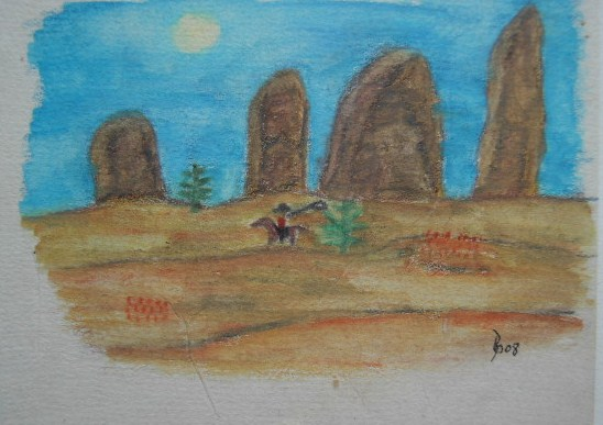 Im wilden Westen Aquarell Kleinbild auf Büttenpapier 10,5x15cm 2008
