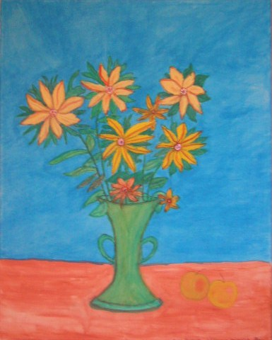 Sonnenblumen Aquarell auf Leinwand 40x50cm 2007