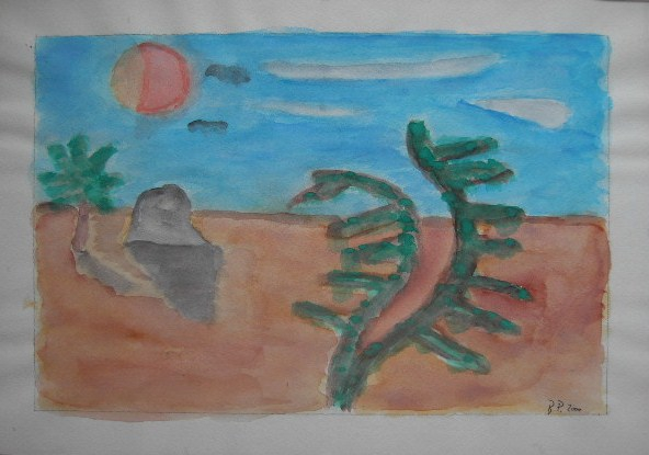 Wüste Aquarell auf Papier 21x30cm 2000