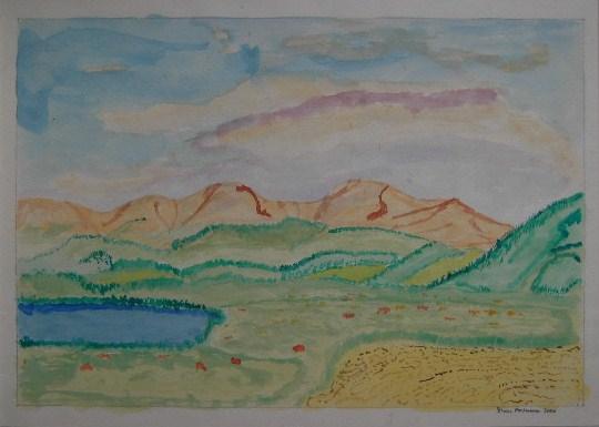 Landschaft im Abendlicht Aquarell auf Papier 21x30cm 2000