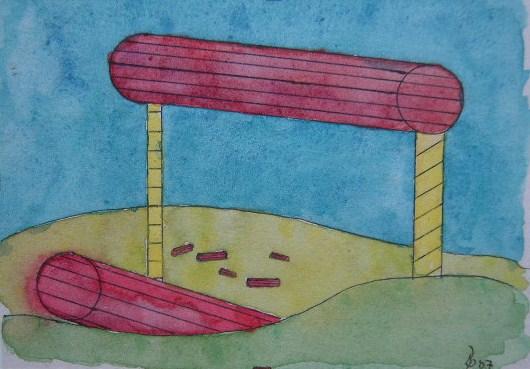 Röhren Aquarell Kleinbild auf Büttenpapier 10,5x15cm 2007