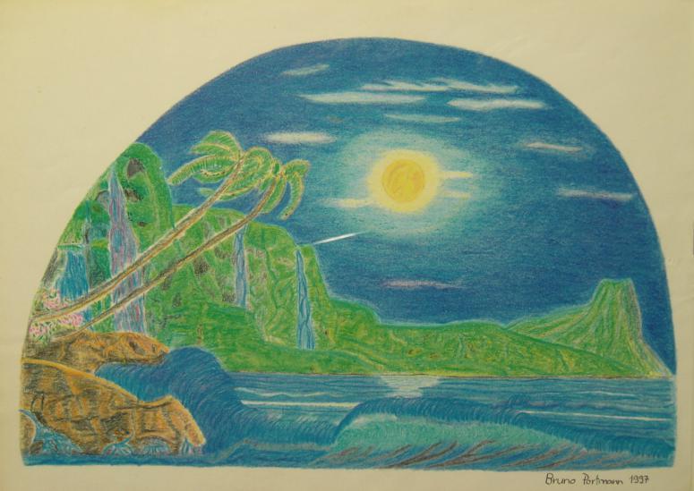 Insel bei Vollmond Buntstifte auf Papier 20x30cm 1997
