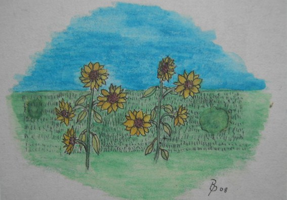 Sonnenblumen Aquarell Kleinbild auf Büttenpapier 10,5x15cm 2008