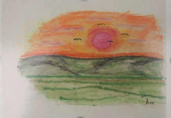 Sonnenuntergang Aquarell Kleinbild auf Büttenpapier 10,5x15cm 2008