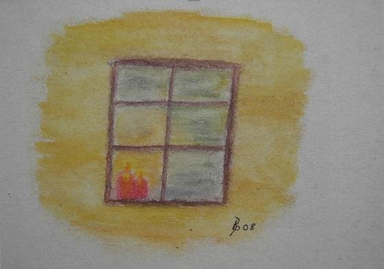 Kerze am Fenster Aquarell Kleinbild auf Büttenpapier 10,5x15cm 2008