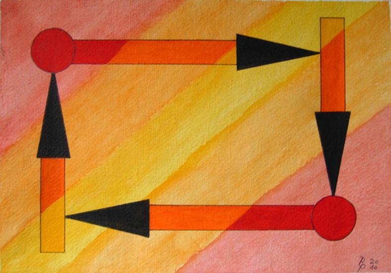 Geometrie 5 Aquarell auf Büttenpapier 25x35cm/30x40cm 2010