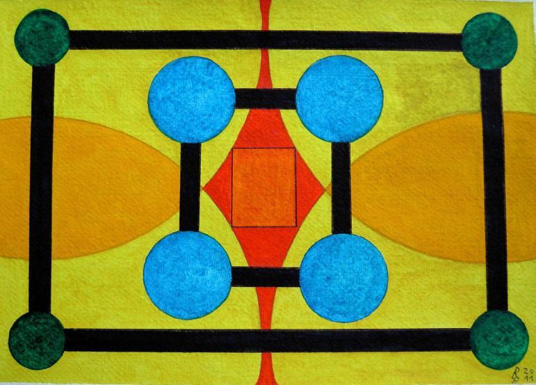 Geometrie 6 Aquarell auf Büttenpapier 25x35cm/30x40cm 2011