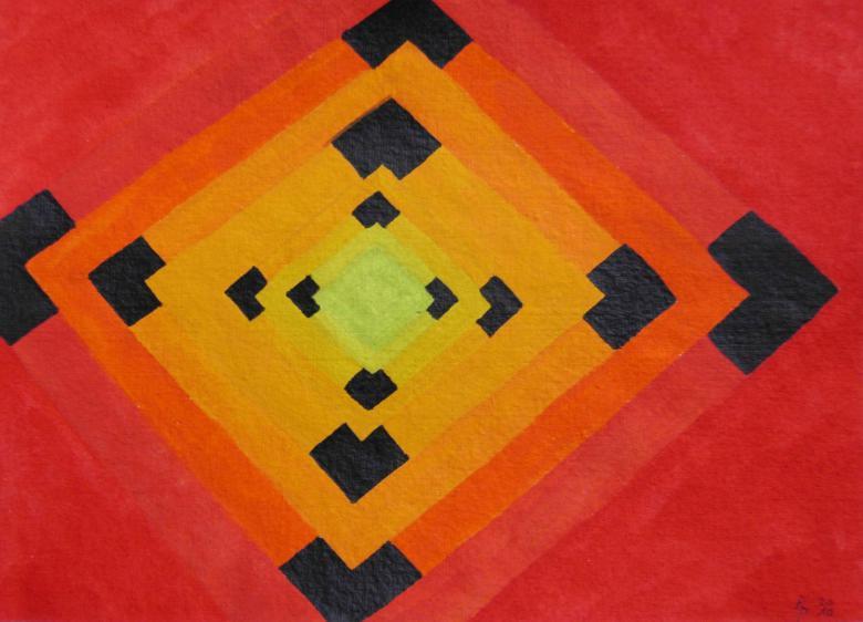 Geometrie 7 Aquarell auf Büttenpapier 25x35cm/30x40cm 2010