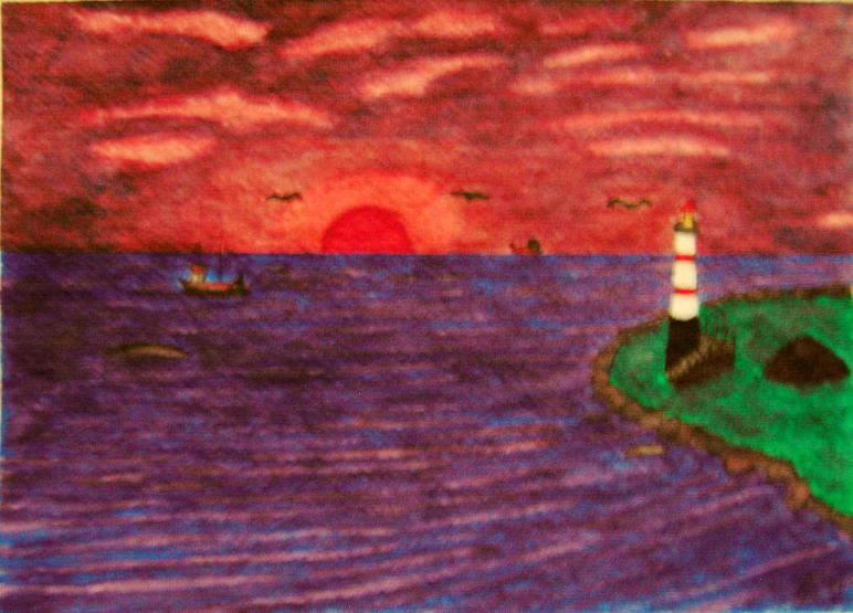 Fischerboote bei Sonnenaufgang Aquarell auf Büttenpapier 25x35cm/40x50cm 2010