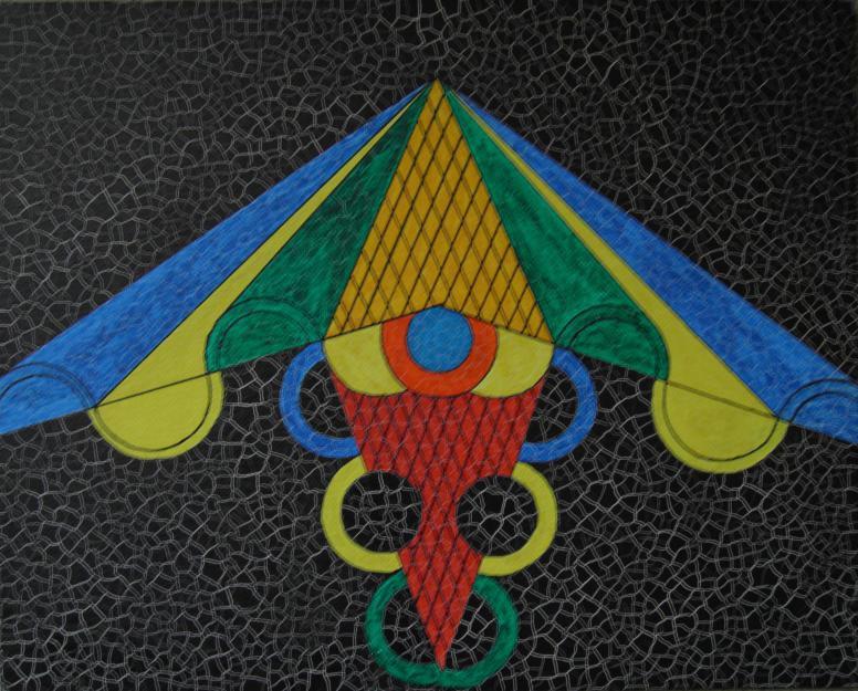 Geometrie 8 Aquarell auf Malplatte 24x30cm 2007