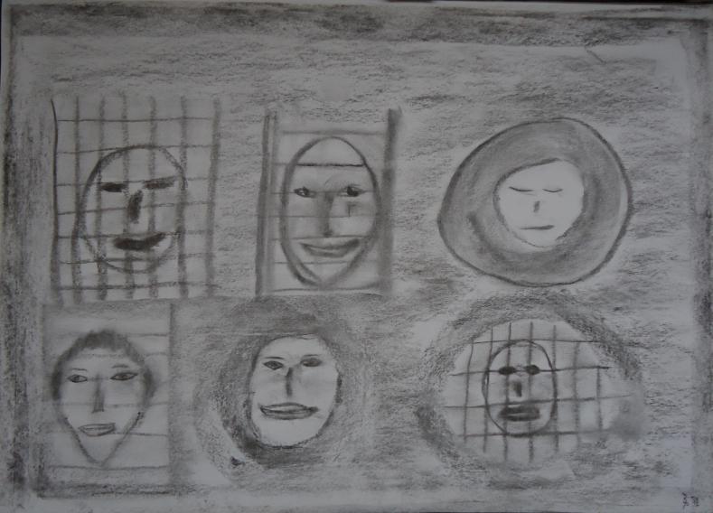 Kohlebild Gesichter 30x41cm/40x50cm 2012