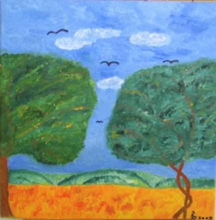 Baum Oel auf Leinwand 30x30cm 2009