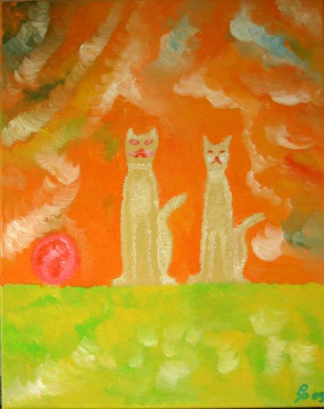 Katzenpaar Oelbild auf Leinwand 40x50cm 2009